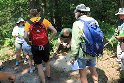 RAM Camp group gets lectured on the rocky path they walk.